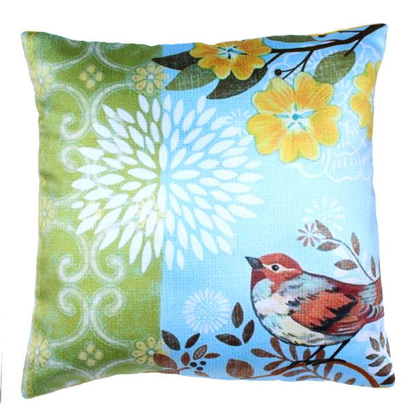 CUSHION COVER BLUE GREEN YELLOW BIRD