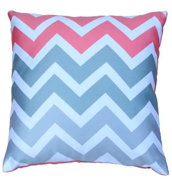 Cushion Cover Chevron Grey Peach Design