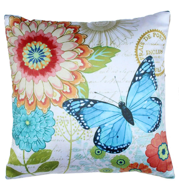 CUSHION COVER ORANGE FLOWER BLUE BUTTERFLY