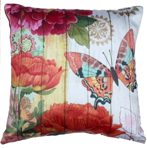 CUSHION COVER PINK ORANGE BUTTERFLY LINES