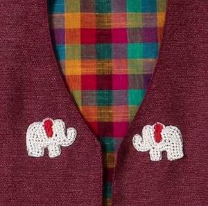 Jacket Embroidered Red Elephant on Red