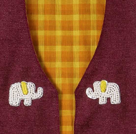 Jacket Embroidered Yellow Elephant on Red