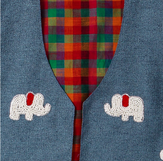 Jacket Embroidered Red Elephant on Blue