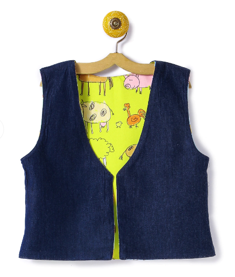 Reversible Kids Jacket Yellow Ship