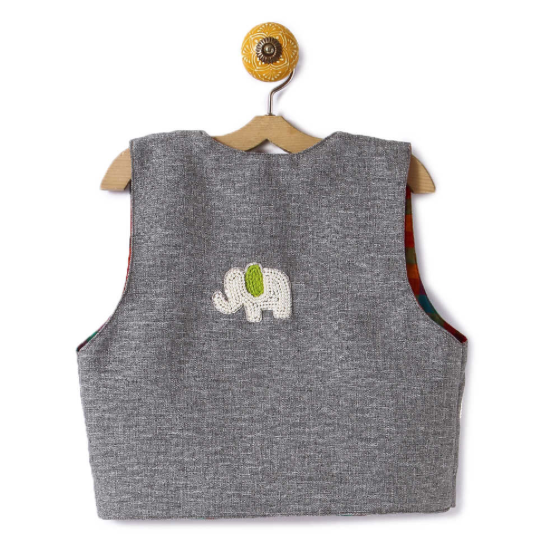 Jacket Embroidered Green Elephant on Grey