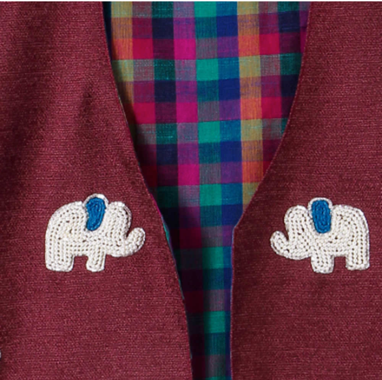 Jacket Embroidered  Skyblue Elephant on Red