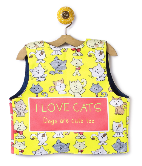 Reversible Kids Jacket I Love Cat Yellow