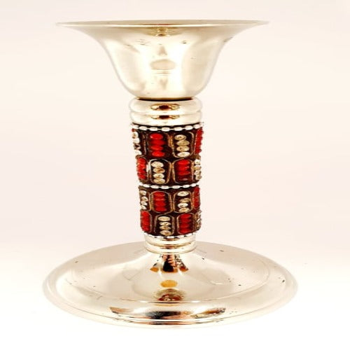 Jewelled Candle Stick - Red