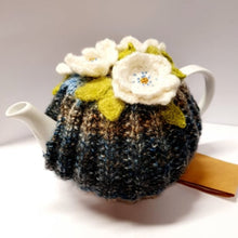 Crochet Tea Cosy - Blue with white beaded flowers