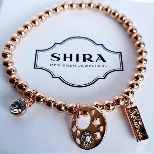 Rose Gold Bracelet with Charms
