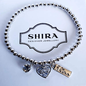 Silver Ball Bracelet with Charms