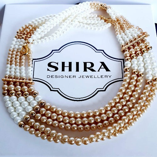 Rose & Cream Pearl Style Necklace