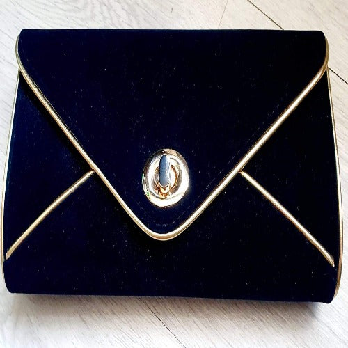 Navy Handbag with Gold details