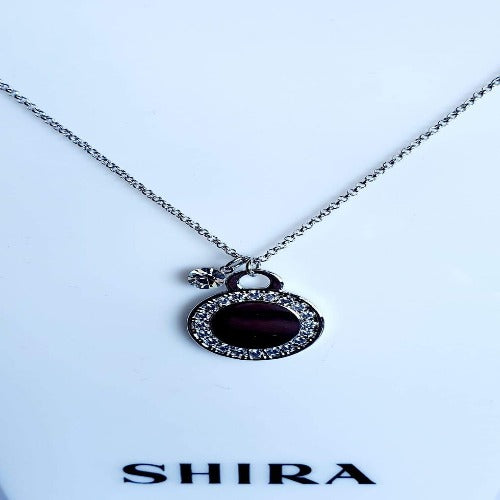 Polished Silver & Crystal Pendent Necklace