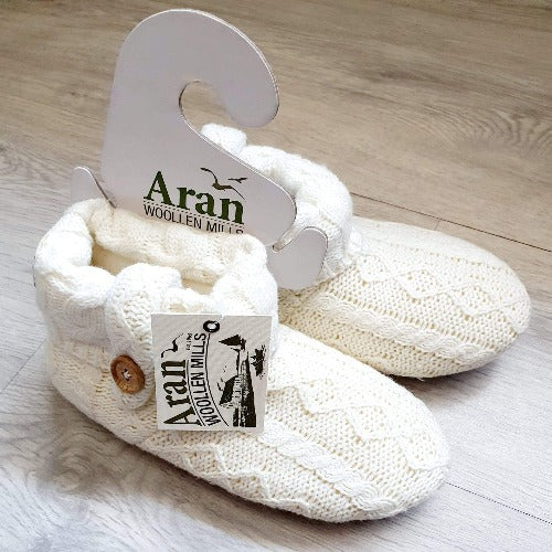 Aran Child's Knitted Boot Slippers