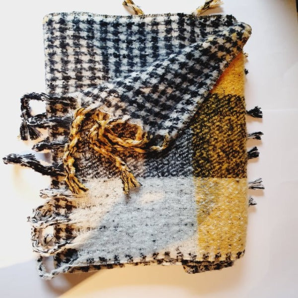 Yellow & Black oversized check scarf