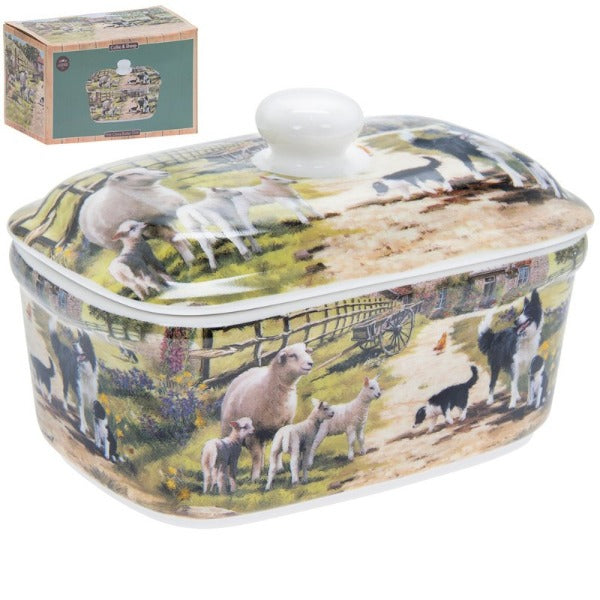Collie & Sheep Butter Dish