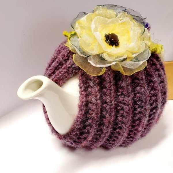 Crochet Tea Cosy - Purple with Removable Flowers