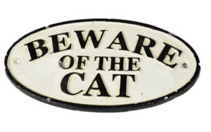 Cast Iron 'Beware of the Cat' Sign