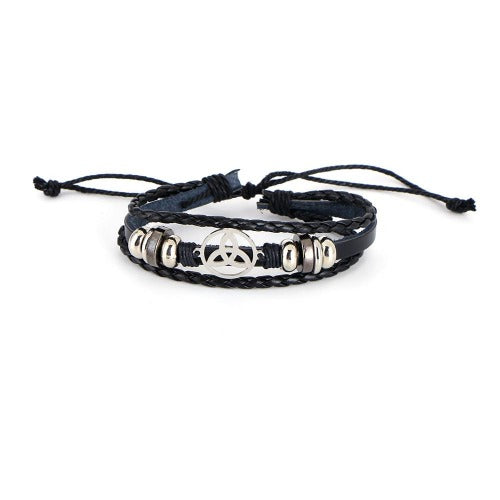 Celtic Knot Real Leather Bracelet Black