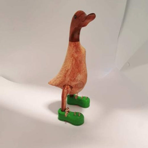 Small Wooden Duck -  Green Shoes