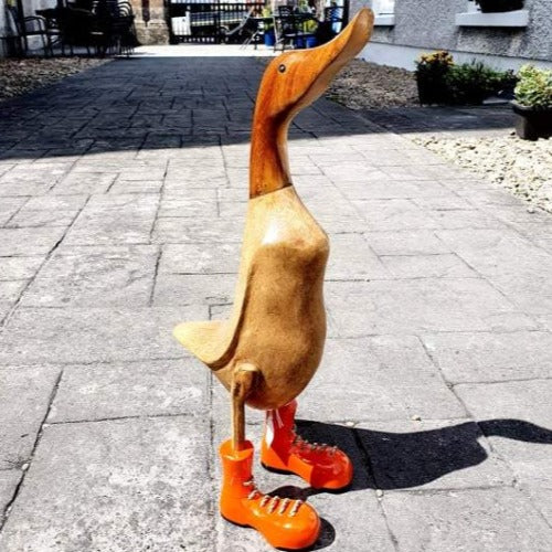 Large Wooden Duck - Orange Boots
