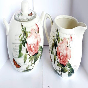 Redoute Rose Sugar Bowl & Creamer