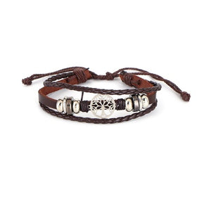 Tree of Life Real Leather Bracelet Brown