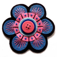 Flower Power Brooch Handmade by Applique Originals