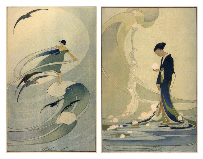 Set of 6 Cards:  Bertha Lum, 'Spirit of the Sea', 1918 and 'Wind Sprite', 1920
