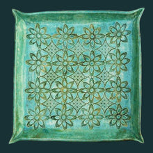 Emerald Pottery Platter Handmade by Tanja Shpal