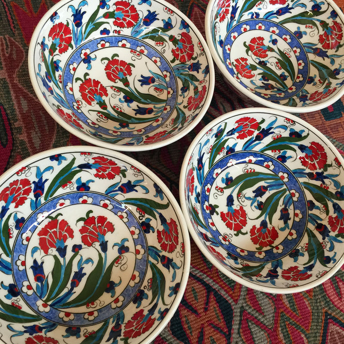 Hand Painted Iznik Flower Bowls, Set of 2