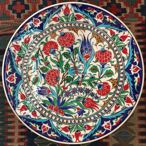 Hand Painted Iznik Flower Plate