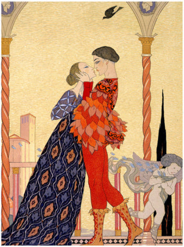 Art Print:  Georges Barbier, 'Lovers on a Balcony', 1916