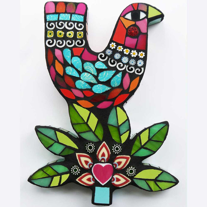 Winter Bird Mosaic Handmade by Amanda Anderson
