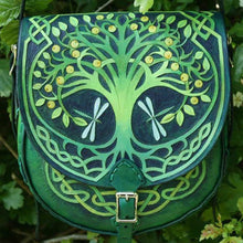 Tree of Life Carved Leather Bag Handmade by Sky Raven Wolf