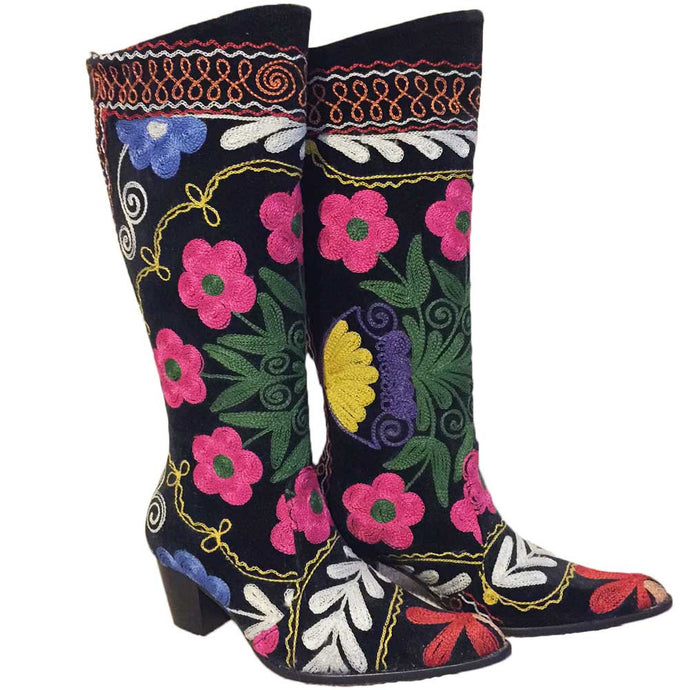 Embroidered Suzani Boots, Size 36