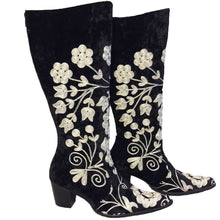 Embroidered Black & White Suzani Boots, Size 36