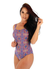 Tan through traditional tank swimwear from Lifestyles Direct--EB0226--purple Carnival.