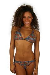 Tan through string bikini top and bottom--ET7147 and EP7747--in orange Heat print.