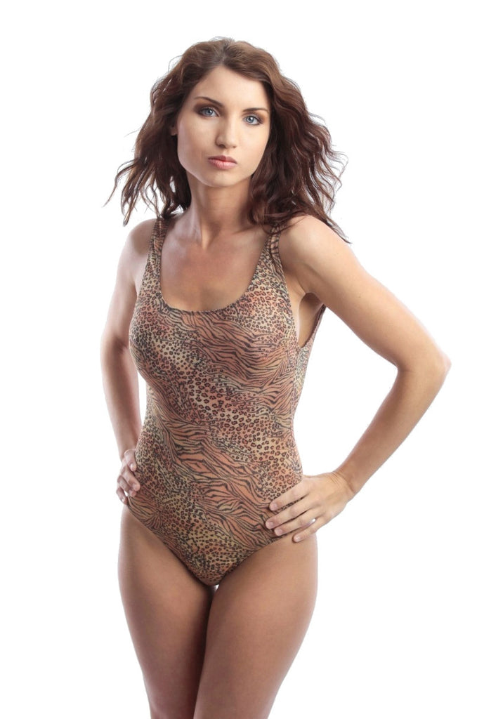 Brown Jungle Heat in a tan through one piece swimsuit