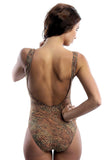 Back of our one piece tan thru swimsuit in Jungle Heat