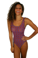 Blue Hibiscus one piece traditional tank