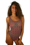 Green Hibiscus Tan Through bathing suit