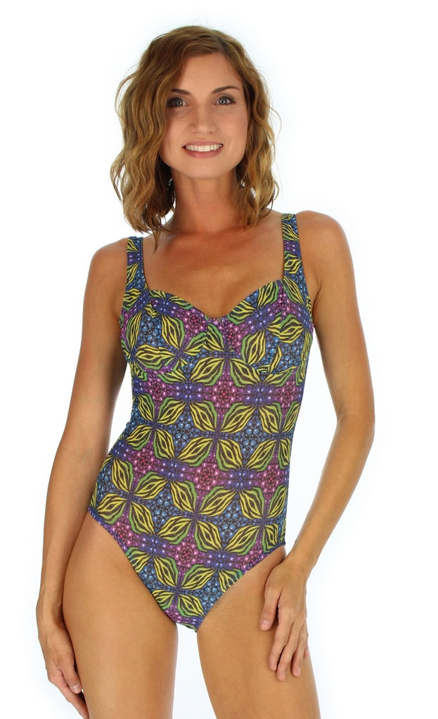 Green Heat tan through CD underwire support swimming suit from Lifestyles Direct.