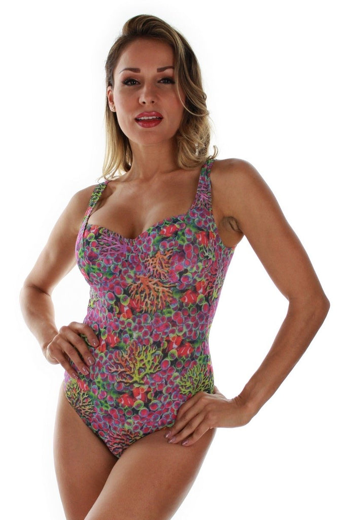 Tan through CD underwire tank swimsuit -- front view -- purple Fiji.