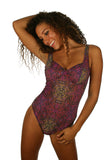 Purple Safari swimsuit made from tan through fabric