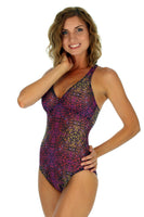 Safari print Tan Through one piece swimwear