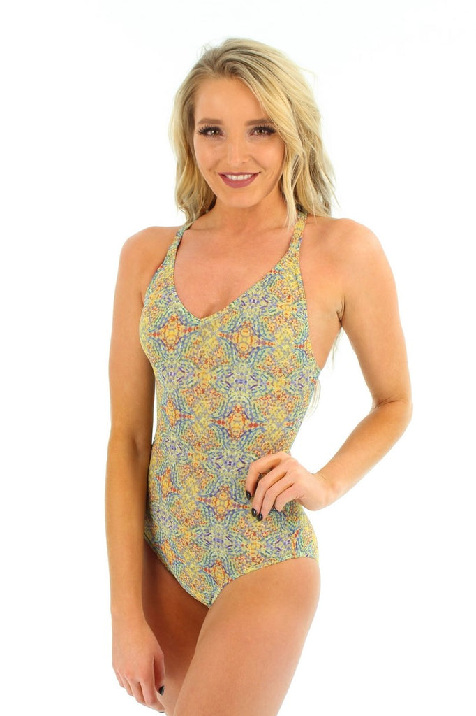 Yellow Carnival V-neck tan through adjustable strap swimsuit.