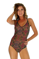 Pink Safari crisscross strap swimsuit from Lifestyles Direct Tan Through Swimwear.